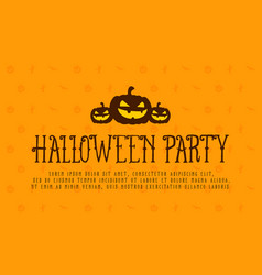 Halloween party card with pumpkin vector