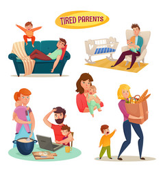 tired parents isolated decorative elements vector image