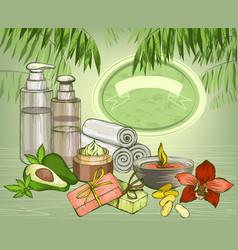 Avocado organic oil and spa cosmetics background vector