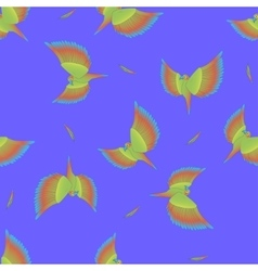 Seamless pattern with flying colorful parrot vector