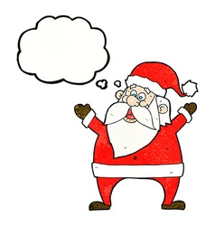 Jolly santa cartoon with thought bubble vector