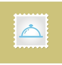 Restaurant cloche stamp vector
