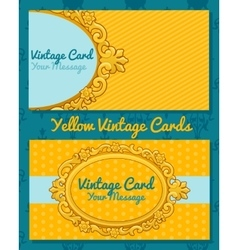 Golden vintage horizontal business card vector image