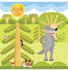 Wolf on the forest vector