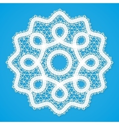 White lacy round napkin in russian vologda lace vector