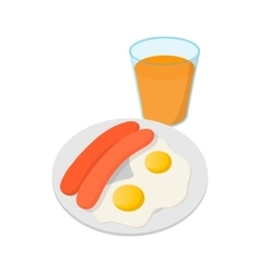 Fried eggs with sausages icon cartoon style vector
