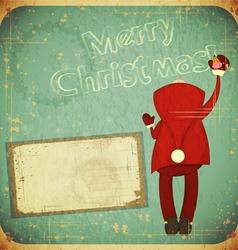 Santa Claus writes greetings vector image