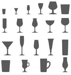 alcohol glasses silhouette set vector image vector image
