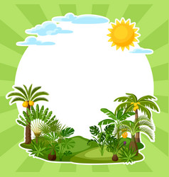 Background with tropical palm trees exotic vector