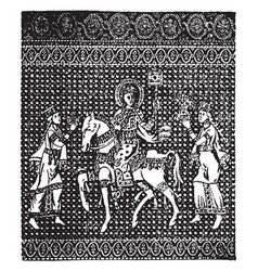 Byzantine fabric have one horse and three man in vector