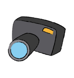 Cartoon photo camera flash lens button vector