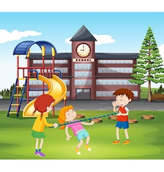 Children playing with bar in the playground vector