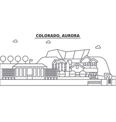 Colorado aurora architecture line skyline vector