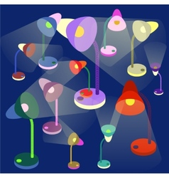 Colorful table-lamps on dark-blue background vector