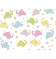 cute elephants flowers vector image