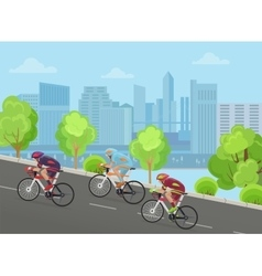 Cyclist man on race bicycle ride up the road in vector image