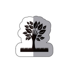 Dark tree with leaves and grass icon vector