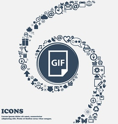 File gif icon in the center around the many vector