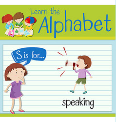 Flashcard letter s is for speaking vector