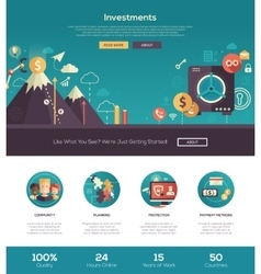 Flat design investments website header banner with vector