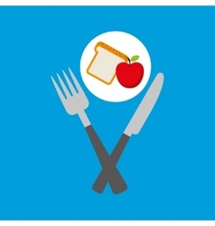 Food fresh apple bread fork and knife vector