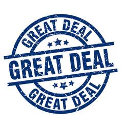 Great deal blue round grunge stamp vector