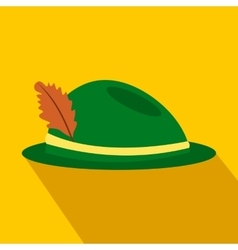 Green hat with a feather flat icon vector