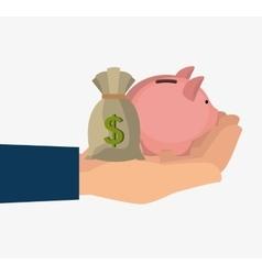 Hand holding a piggy moneybox vector