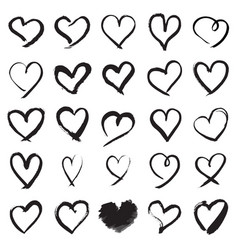 Hand painted heart symbols vector