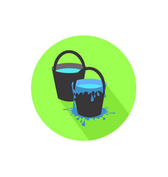 icon two buckets on isolated white background vector image vector image