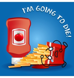 ketchup and crying cartoon on fried potatoes box vector image