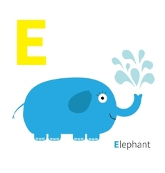 Letter e elephant zoo alphabet english abc with vector