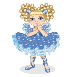 Little girl in a brilliant dress on a white vector image