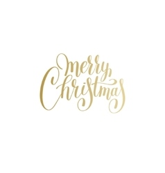Merry christmas gold logo handwritten lettering vector