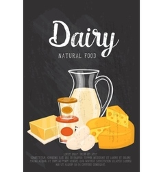 Natural food banner with dairy composition vector image