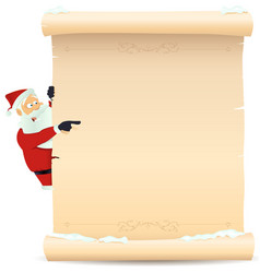 Santa pointing christmas list vector