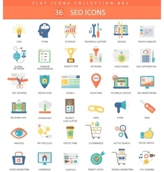 SEO and development color flat icon set vector image