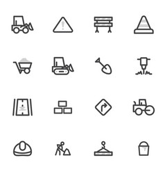 set of icons of road equipment vector image vector image