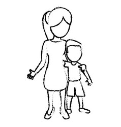 sketch mother and son hugged vector image vector image