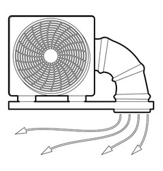 System fan and pipe icon outline style vector