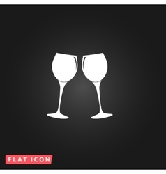Two glasses of wine or champagne icon vector image vector image