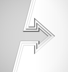 White arrow with cut paper layers vector image