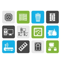 Flat computer and website icons vector