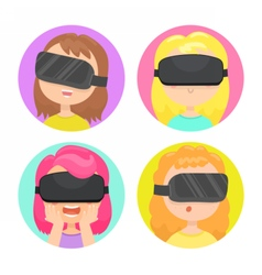 Four different girls in a virtual reality glasses vector