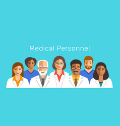 Doctors and nurses team smiling faces vector