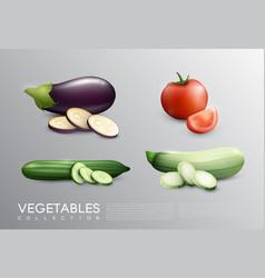 Realistic fresh vegetables set vector
