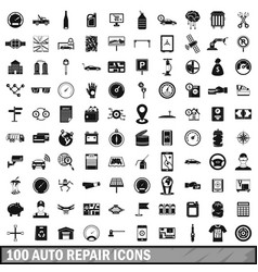 100 auto repair icons set simple style vector