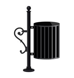 iron litter waste bin isolated on white vector image