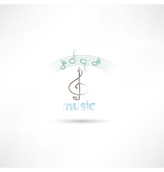 Treble clef and music vector