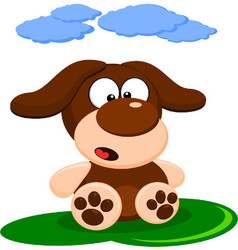 Cute little brown dog cartoon vector